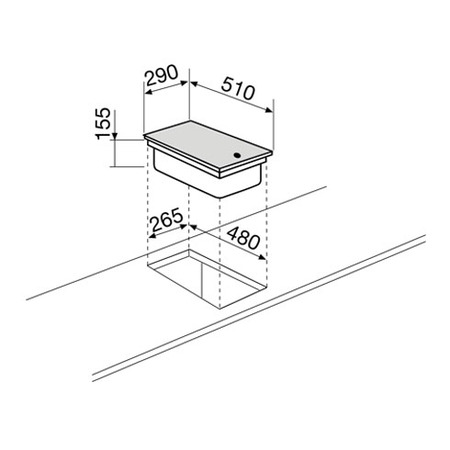 Technical drawing Domino electric 30 cm - GT3FIX - Glem Gas