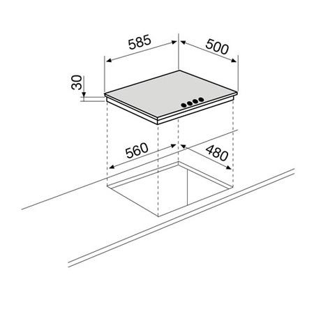 Technical drawing Gas Hob 60 cm - GT645IX - Glem Gas