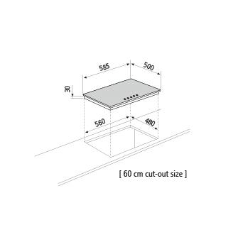 Diseño técnico Placa a gas - GT645IX - Glem Gas