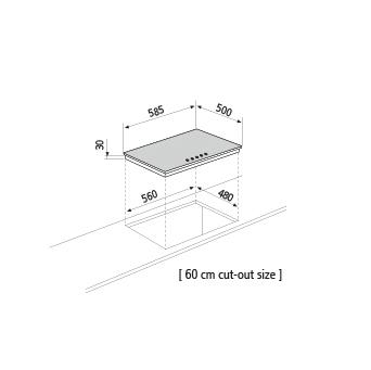 Technical drawing Gas hob  - GT64BK - Glem Gas