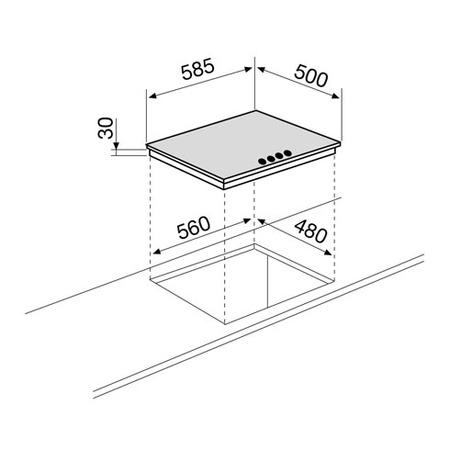 Technical drawing Gas Hob 60 cm - GT64HIX - Glem Gas