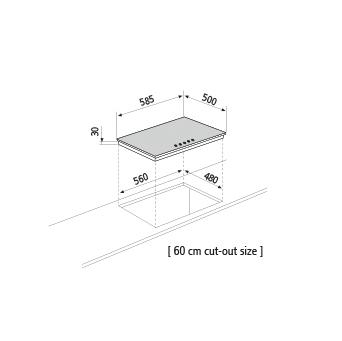 Dessin technique Table gaz - GT64HIX - Glem Gas