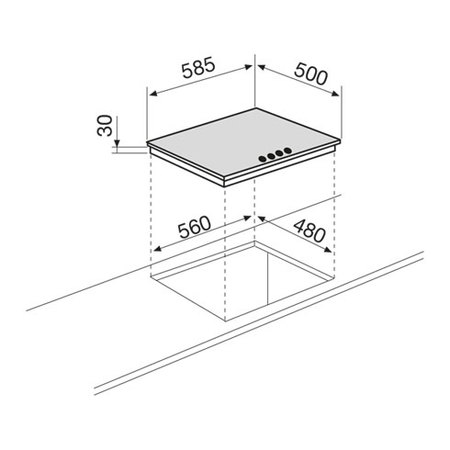 Disegno tecnico Piano cottura da 60 cm - GT64IX - Glem Gas