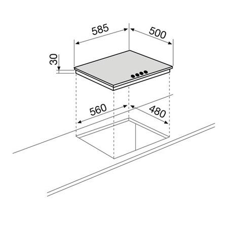 Technical drawing Gas Hob 60 cm - GT64IX - Glem Gas