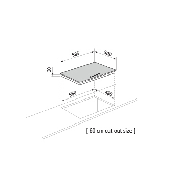 Dessin technique Table gaz - GT64IX - Glem Gas