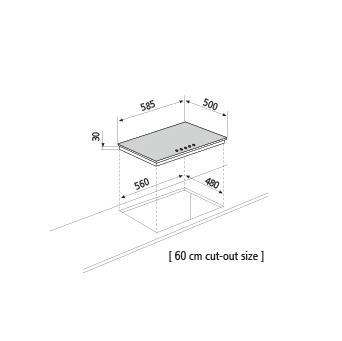 Technical drawing Gas hob - GT64IX - Glem Gas