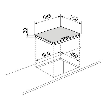 Technical drawing Gas Hob 60 cm white - GT64WH - Glem Gas