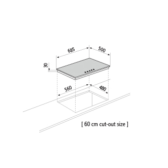 Dessin technique Table gaz - GT755BK - Glem Gas