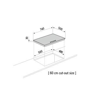 Technical drawing Gas hob - GT755HBK - Glem Gas
