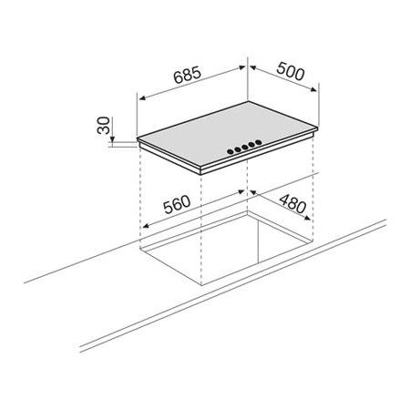 Disegno tecnico Piano cottura 70 cm - GT755HIX - Glem Gas