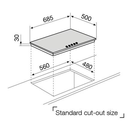 Technical drawing Gas Hob 70 cm - GT755HIX - Glem Gas