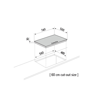 Dessin technique Table gaz - GT755HIX - Glem Gas