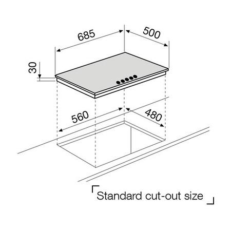 Technical drawing Gas Hob 70 cm white  - GT755HWH - Glem Gas