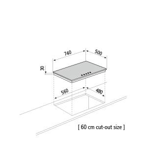 Dessin technique Table gaz - GT755HWH - Glem Gas