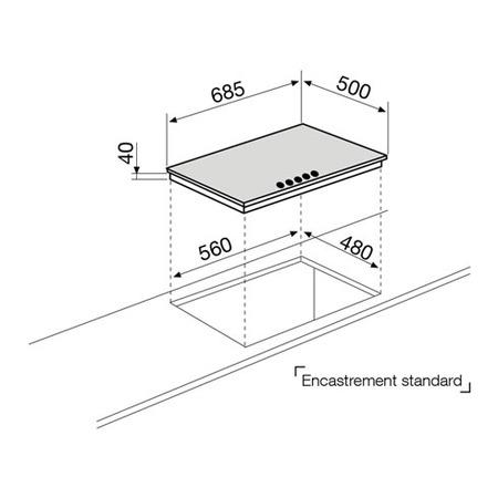 Dessin technique Table gaz 5 foyers 70 cm inox - GT755IX - Glem Gas