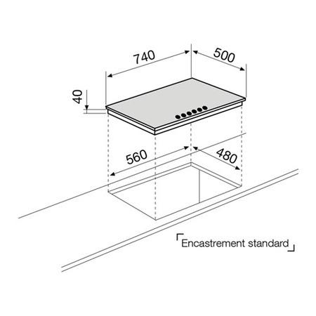 Dessin technique Table gaz 5 foyers 75 cm inox - GT851HIX - Glem Gas