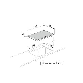 Dessin technique Table gaz - GT851HIX - Glem Gas