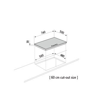 Technical drawing Gas hob - GT851HIX - Glem Gas