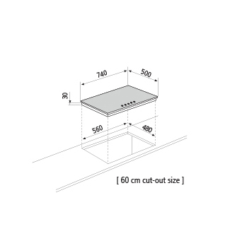 Dessin technique Table gaz - GT871HIX - Glem Gas