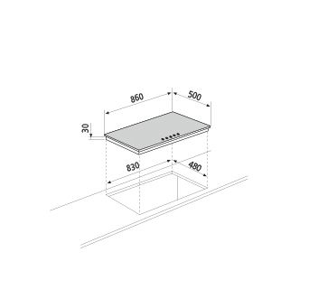 Dessin technique Table gaz - GT955BK - Glem Gas