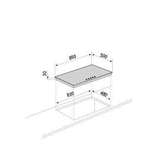 Technical drawing Gas hob - GT955HBK - Glem Gas
