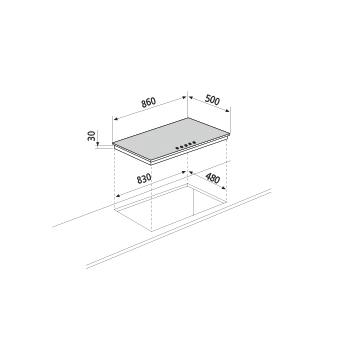 Technical drawing Gas hob - GT955HIX - Glem Gas