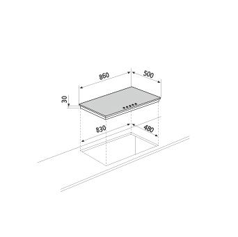 Technical drawing Gas hob - GT955HWH - Glem Gas