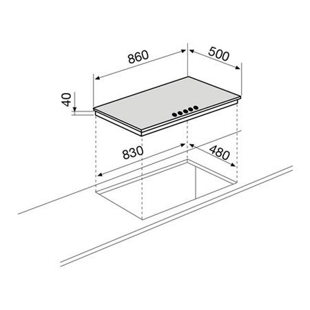 Dessin technique Table gaz 5 foyers 90 cm inox - GT955IX - Glem Gas