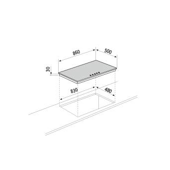 Dessin technique Table gaz - GT955IX - Glem Gas