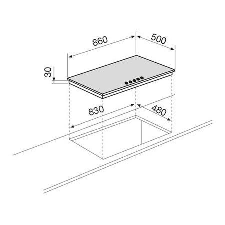Disegno tecnico Piano cottura da 90 cm - GT955TF - Glem Gas