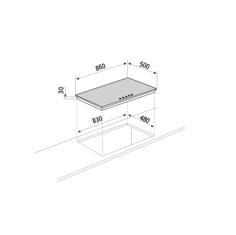 Technical drawing Gas hob - GT955WH - Glem Gas