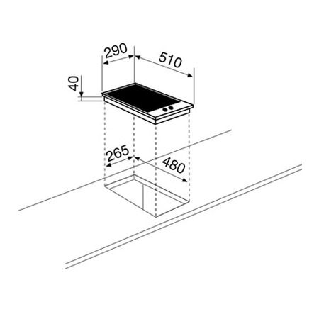 Technical drawing Ceramic domino electric 30 cm - GTH32KIX - Glem Gas
