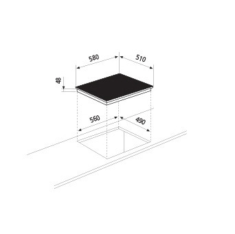 Desenho técnico Placa vitrocerâmica 60 -  GTH64TCN - Glem Gas