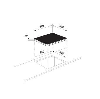 Desenho técnico Placa vitrocerâmica 60 - GTH64TFN - Glem Gas