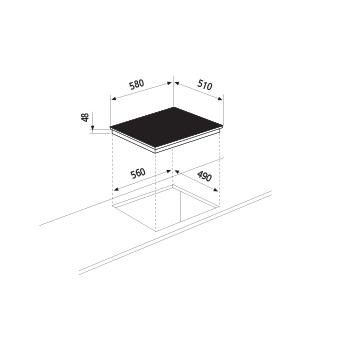 Technical drawing Ceramic Glass Hob 60 cm - GTH64TIX - Glem Gas