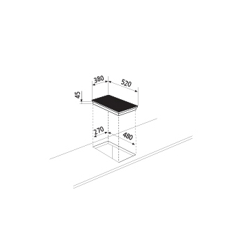 Technical drawing Ceramic Glass Hob 38 cm - GTHP42BK - Glem Gas