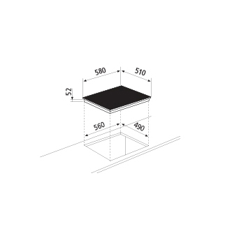 Diseño técnico Placa de inducción 3 zonas - GTI632 - Glem Gas