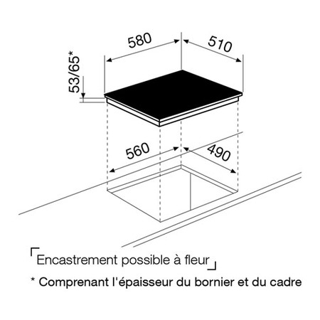 Dessin technique Table induction 3 zones 60 cm - GTI632N - Glem Gas
