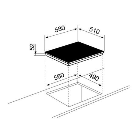 Technical drawing Induction hob 60 cm - GTI642 - Glem Gas