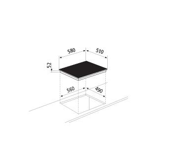 Dessin technique Table à induction - 4 foyers - GTI642 - Glem Gas