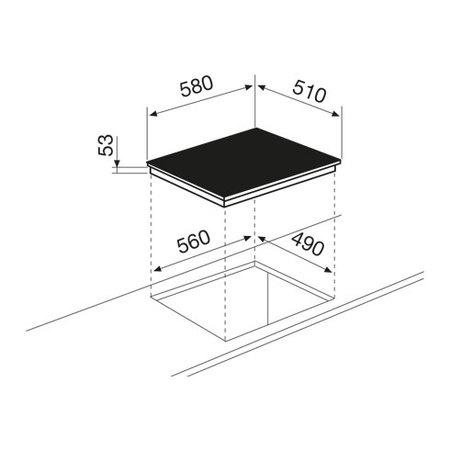 Disegno tecnico Piano cottura a induzione - GTI64LIX - Glem Gas