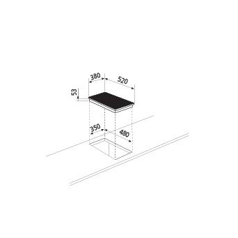 Dessin technique Table à induction - 2 foyers - GTIP42BK - Glem Gas