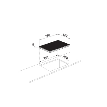 Technical drawing Induction Hob 4 zones - GTIP84BK - Glem Gas