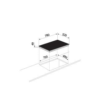 Diseño técnico Placa de inducción 4 zonas - GTIP84BK - Glem Gas