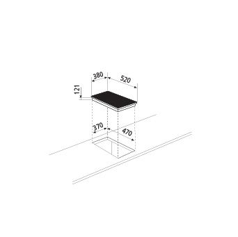 Technical drawing Induction Hob 1 zones - GTIPW41BK - Glem Gas