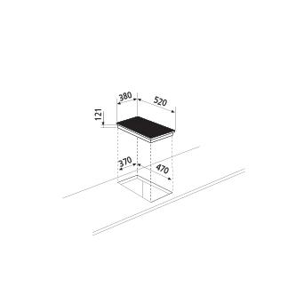 Dessin technique Table à induction - 1 foyer - GTIPW41BK - Glem Gas