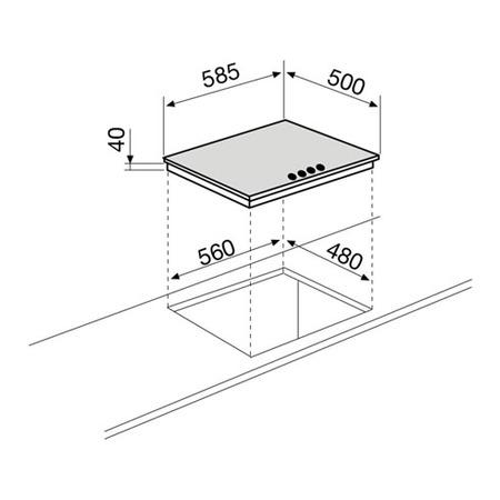 Dessin technique Table mixte 3+1 60 cm émaillée blanche - GTL647WH - Glem Gas