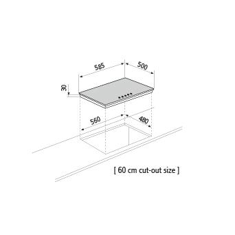 Diseño técnico Placa a gas - GTL64BK - Glem Gas