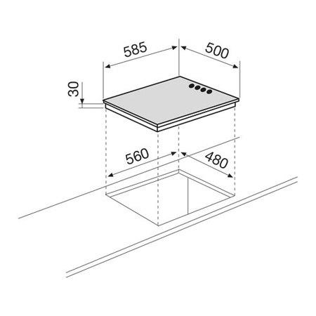 Disegno tecnico Piano cottura da 60 cm - GTL64IX - Glem Gas