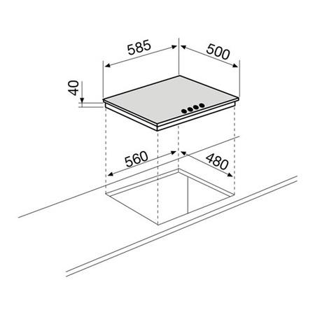 Dessin technique Table gaz 4 foyers 60 cm inox - GTL64IX - Glem Gas